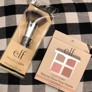 Elf Natural Glow Face Palette with Blending Brush